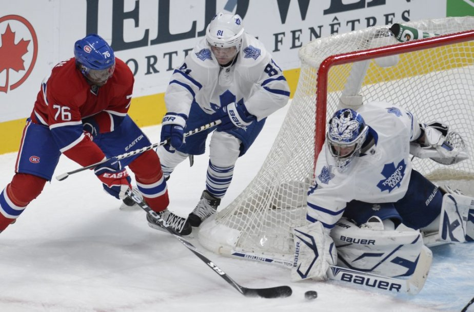 P.K. Subban des Canadiens face à James Reimer et Phil Kessel des Maple Leafs. (Photo Bernard Brault, La Presse)