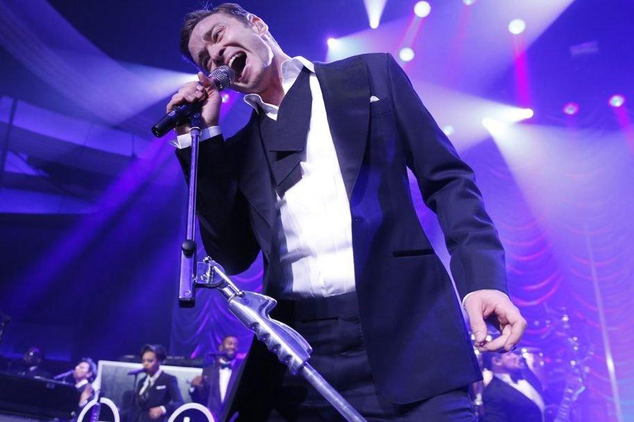 Justin Timberlake lors de sa performance post-Grammy.... (Photo: AP)