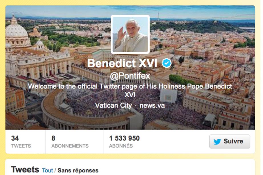 Le compte Twitter du pape.... (Photo capture d'écran)