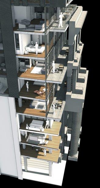 Une nouvelle façade entièrement vitrée est construite à l'arrière de la façade originale, qui est traitée comme un vestige. Aux étages inférieurs, les copropriétaires pourront voir la rue à travers le vestige et auront un balcon. | 14 février 2013