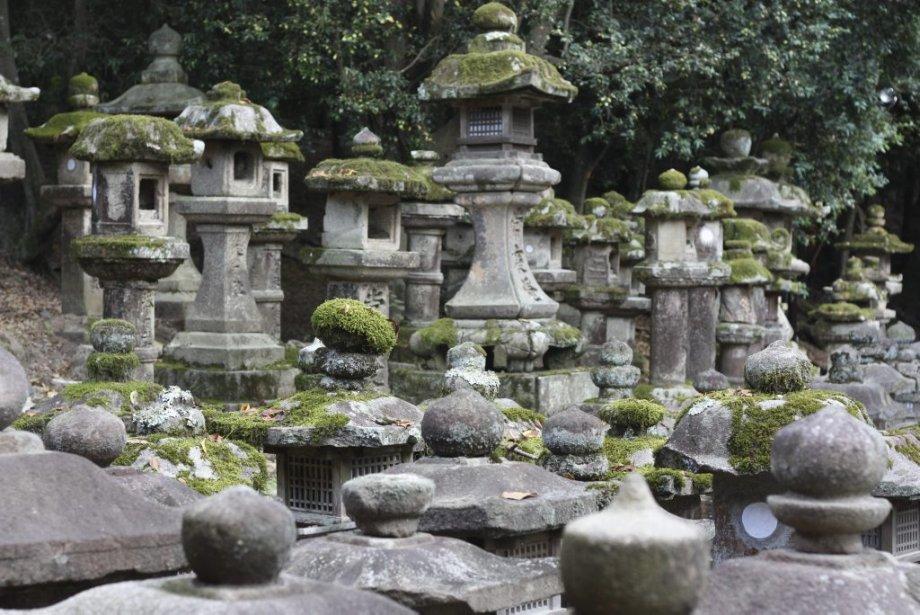 Le sanctuaire shinto de Kasuga Taisha est paré d'un impressionnant chapelet de 3000 lanternes, dont certaines sculptées en pierre. Elles ne sont allumées que deux fois l'an. (Photo Sylvain Sarrazin, La Presse)
