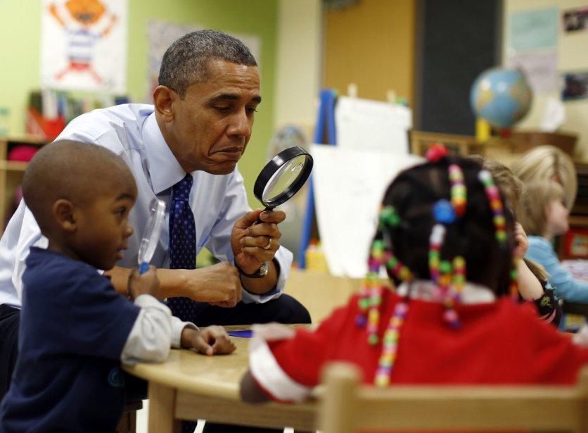 Le président Barack Obama en visite dans une garderie de Decatur en Géorgie. | 15 février 2013