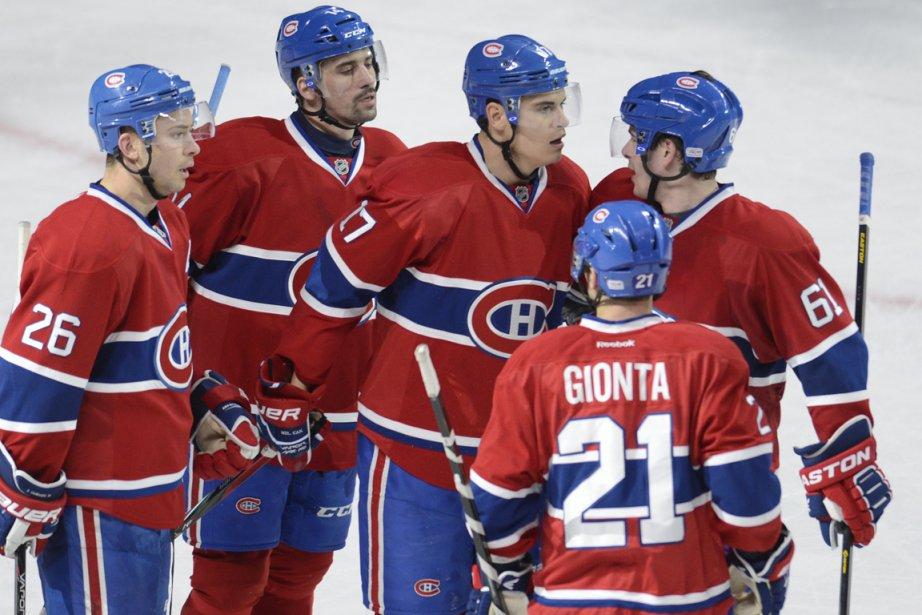 Josh Gorges, Tomas Plekanec, Rene Bourque, Raphael Diaz... (Photo : Bernard Brault, La Presse)