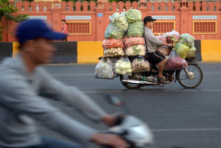 Un Cambodgien sur sa moto chargée de ballots de légumes à Phnom Penh. Après le règne de terreur des Khmers Rouges (1975-1979) et des décennies de guerre civile, le Cambodge est l'un des pays les plus pauvres: 30% de ses 14 millions d'habitants vivent avec moins  de 1$ par jour. | 19 février 2013