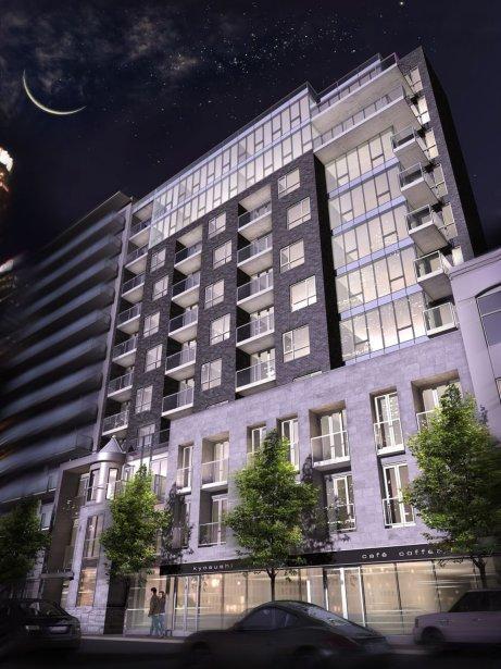 La façade d'une maison victorienne sera intégrée dans la façade du projet Les Condos Crescent, qui aura 11 étages. | 19 février 2013