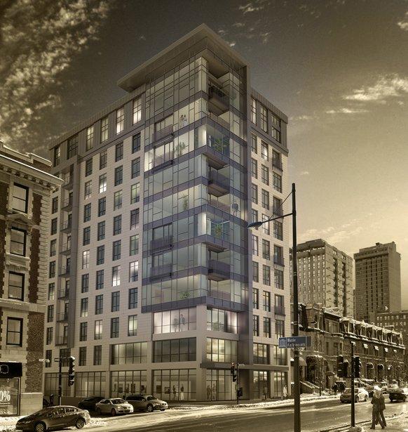 Un ancien immeuble de bureaux de 11 étages est métamorphosé pour abriter Oro, un luxueux complexe d'au plus 40 appartements en copropriété, rue Sherbrooke. | 19 février 2013