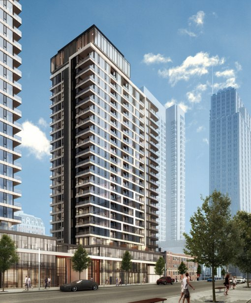Les deux tours de 23 et 21 étages de Drummond Condominiums seront construites au-dessus d'un basilaire de trois étages, où s'installeront des commerces et des bureaux. | 19 février 2013