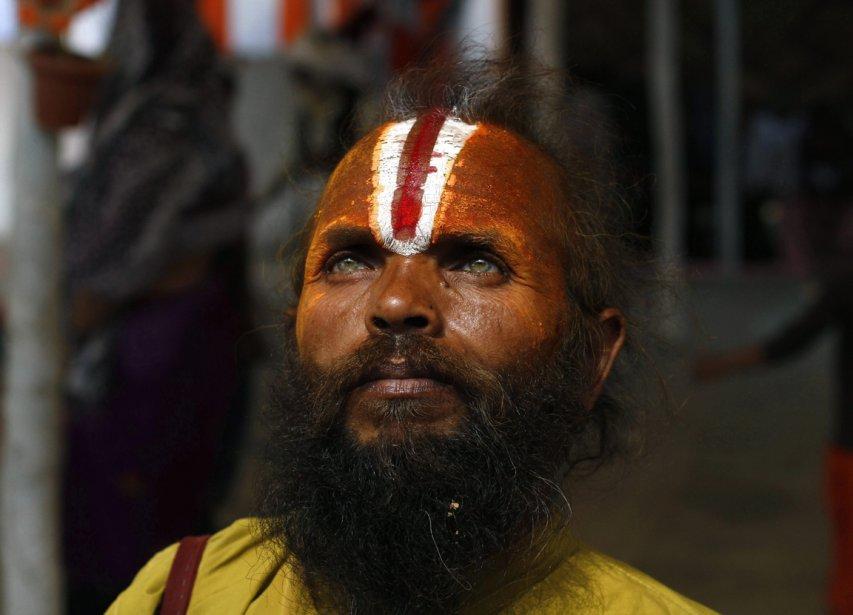 Un participant du festival de Kuhmbmela à Allahabad, en Inde. | 21 février 2013