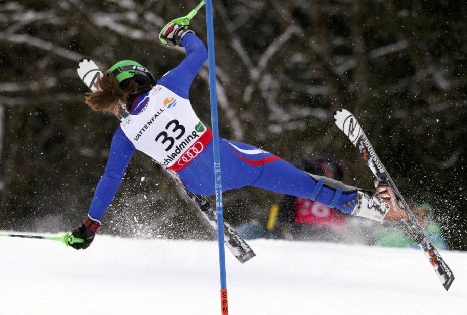 Chute de la Slovaque Petra Vlhova lors de l'épreuve de slalom de la Coupe du monde de ski à Schladming. | 21 février 2013