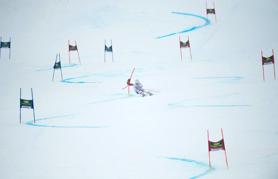 Le Français Alexis Pinturault dans le slalom géant de la Coupe du monde de la Fédération internationale de ski, à Garmisch-Partenkirchen, en Allemagne. Alexis Pinturault est arrivé premier, suivi de l'Autrichien Marcel Hirscher et de l'Américain Ted Ligety. | 25 février 2013