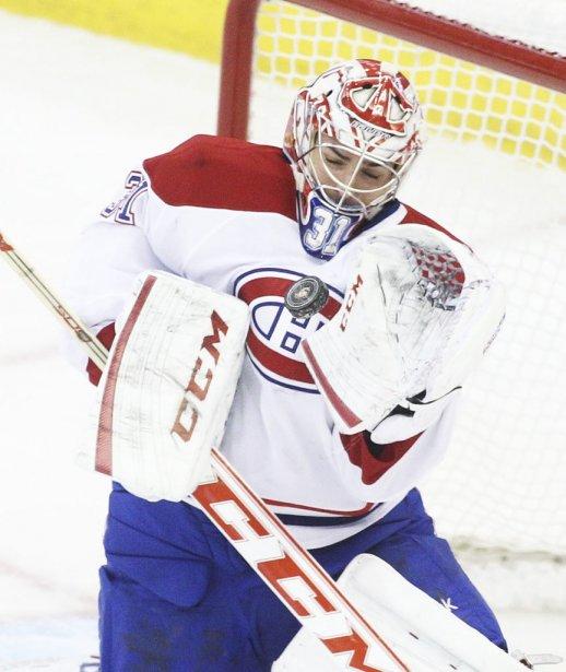 Carey price les yeux ferme fait arret Senateurs canadien 1ere periode PATRICK WOODBURY, LeDroit | 25 février 2013