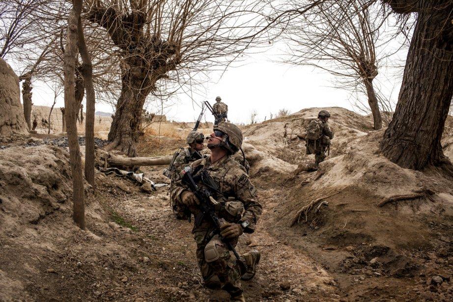 Des soldats américains sont à la recherche d'engins explosifs improvisés qui se trouveraient dans des branches d'arbres, dans la région de Pashmul en Afghanistan. | 25 février 2013