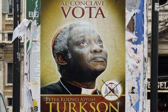 Une affiche parodique incitant à voter pour lecardinal... (Photo Gregorio Borgia, AP)