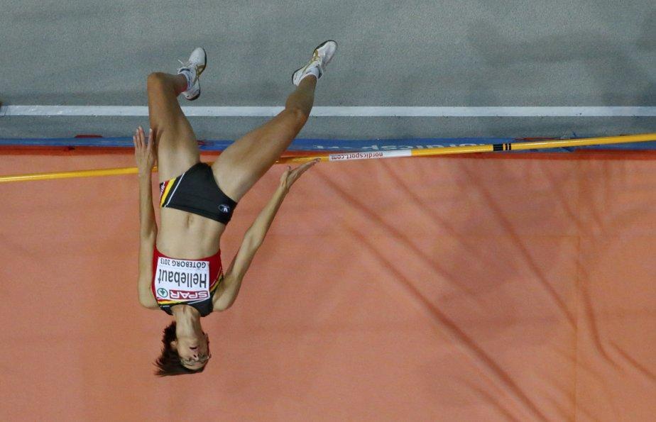 La Belge Tia Hellebaut participe à la compétition finale féminine de saut en hauteur des Championnats européens d'athlétisme intérieur à Göteborg, en Suède. | 4 mars 2013