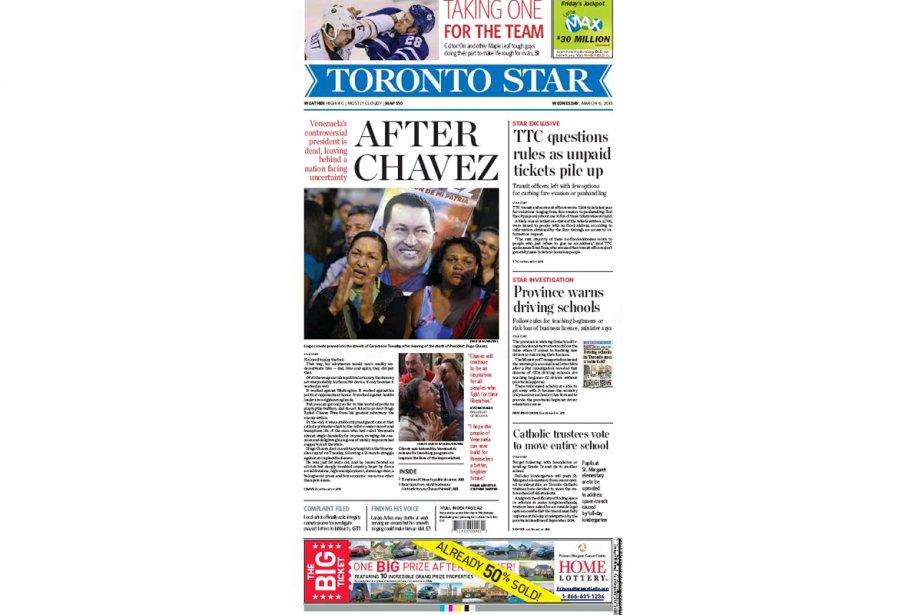 Le grand quotidien canadien Toronto Star a paru mercredi avec de  nombreux...