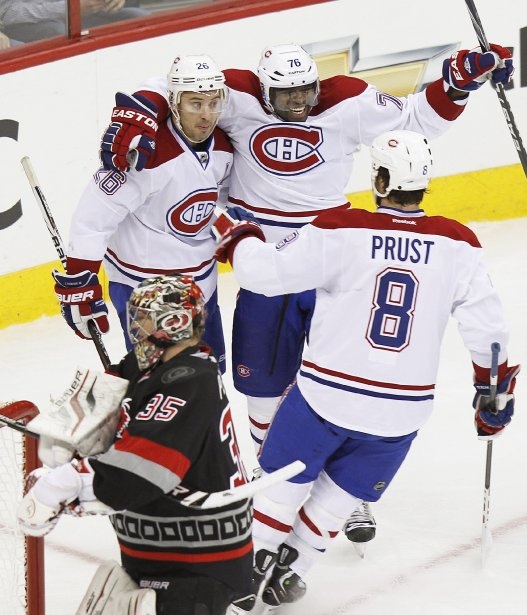 Josh Gorges, P.K. Subban et Brandon Prust. (Photo Ellen Ozier, Reuters)