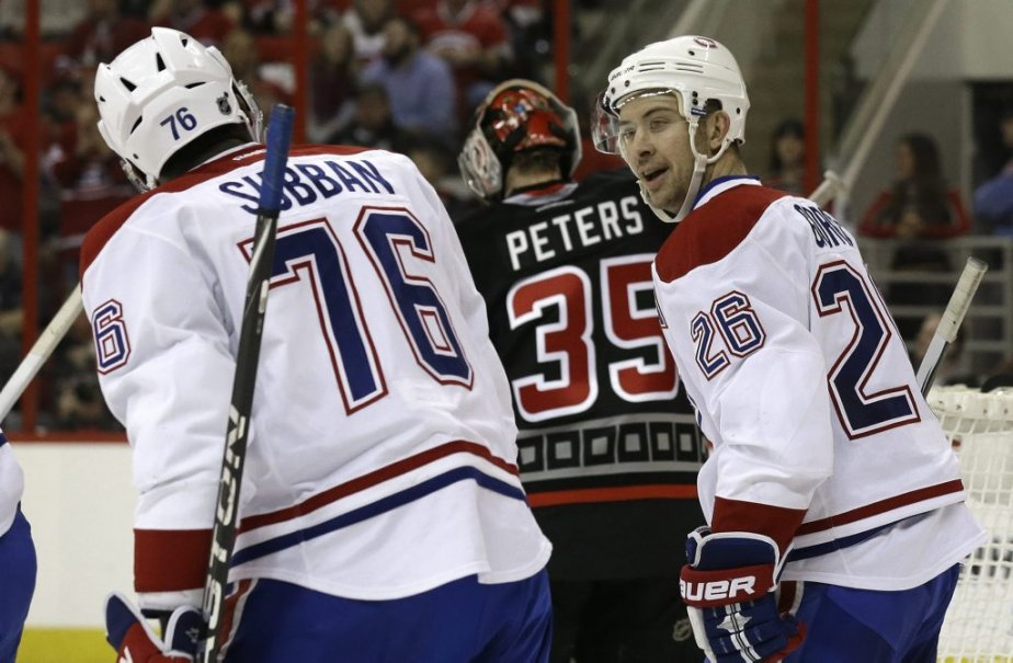 P.K. Subban et Josh Gorges après le but de ce dernier. (Photo Gerry Broome, Associated Press)