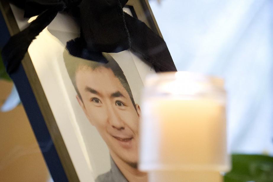 Portrait de Lin Jun lors de ses funérailles,... (Photo: Marco Campanozzi, archives La Presse)