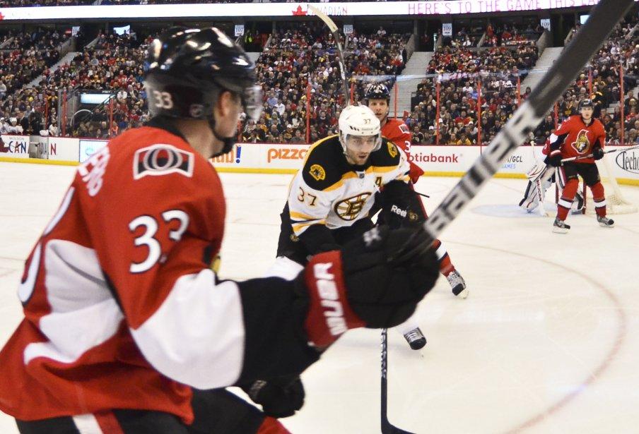 Patrice Bergeron et Jakob Silfverberg, 2ème période Sens contre les Bruins | 11 mars 2013