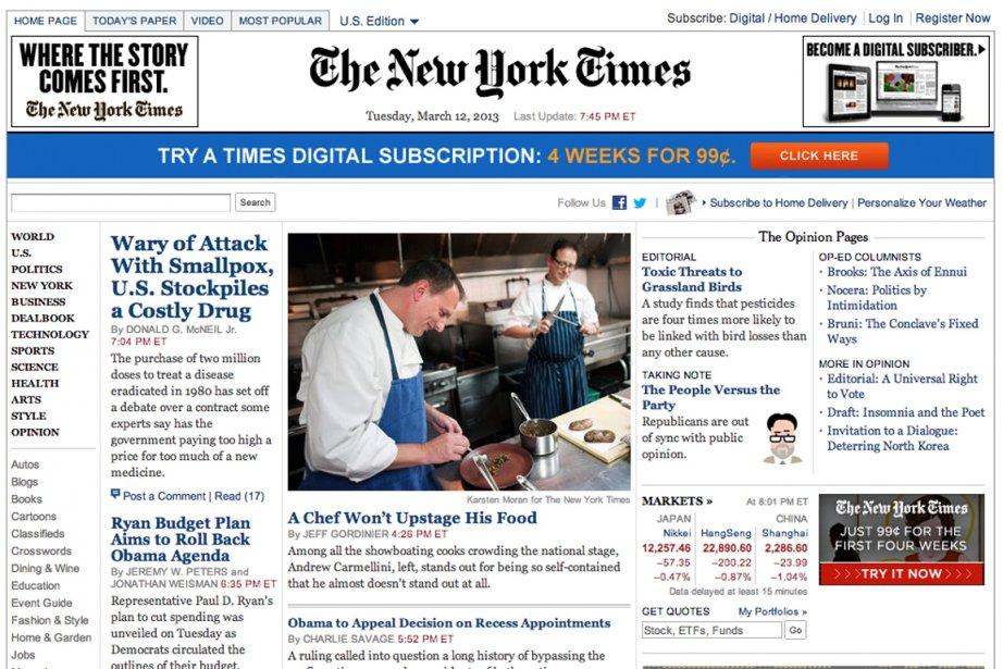 Le haut de la page d'accueil du site... (Capture écran nytimes.com)