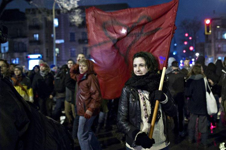 Deux manifestants ont été interpellés au... (Photo: Olivier Jean, La Presse)