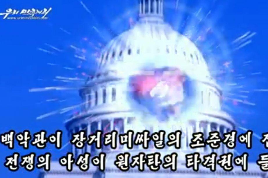La vidéo montre le dôme du Capitole explosant... (IMAGE YOUTUBE)