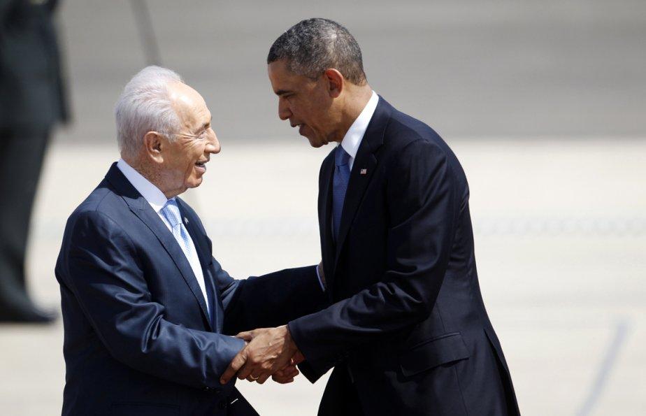 Le président Barack Obama accueilli par le président Shimon Peres. | 20 mars 2013