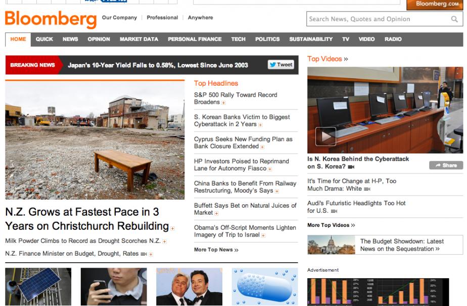 Capture d'écran de l'accueil du site internet Bloomberg.com...