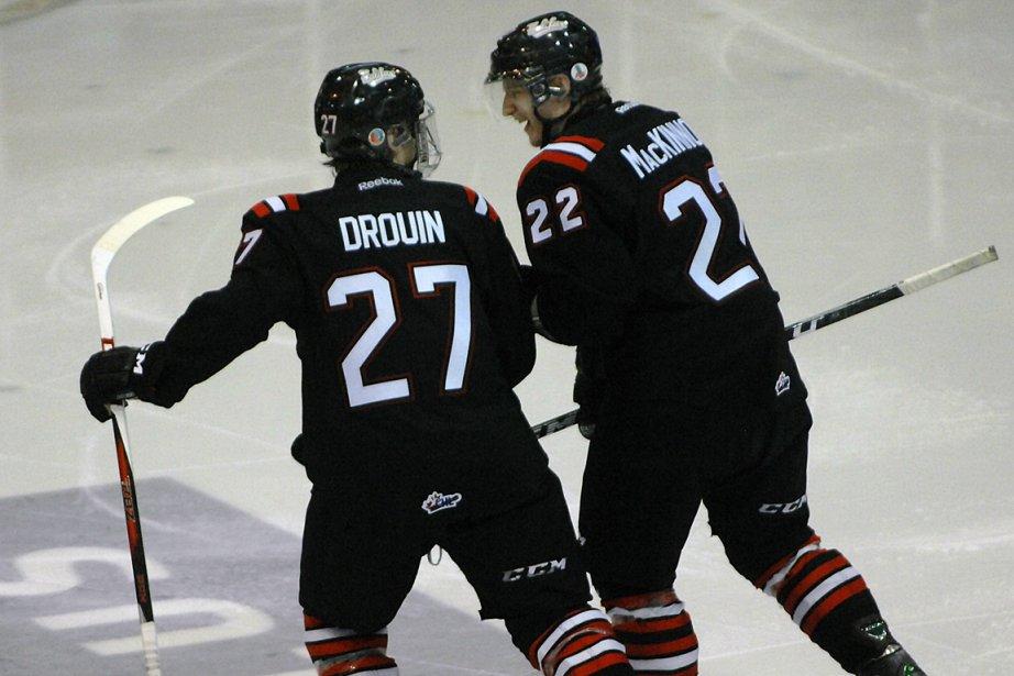 Jonathan Drouin et Nathan MacKinnon, des Mooseheads de... (Photo Michel Tremblay, Le Quotidien)