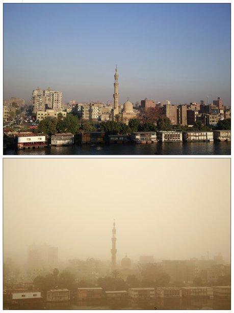 En haut: Une mosquée du Caire le 19 mars. En bas: La même mosquée, quatre jours plus tard, lors d'une tempête de sable. | 22 mars 2013