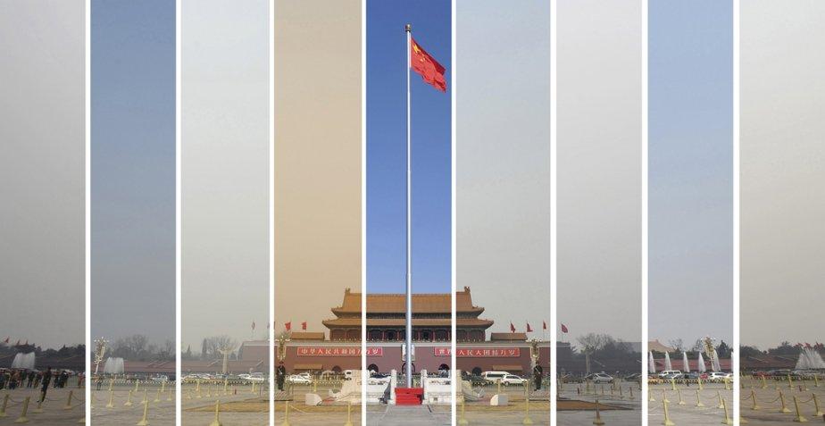 Combinaison d'images de la pièce Tiananmen prises de gauche à droite les 6, 7, 8, 9, 10, 11, 12, 14 et 15 mars démontrant les fluctuations de la qualité de l'air dans la capitale chinoise. | 22 mars 2013