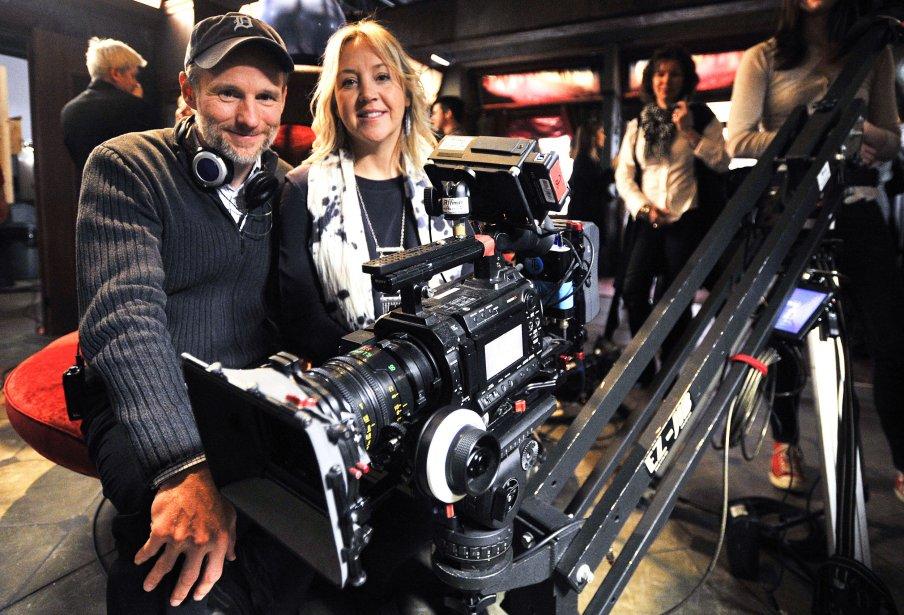 Le réalisateur Martin Cadotte et la productrice Marie-Pierre Gariépy sur le plateau de tournage de Motel Monstre | 22 mars 2013