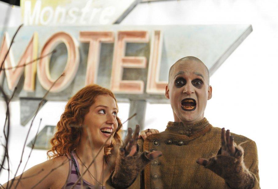 Gabrielle Fontaine (Magalie) et Vincent Poirier (Charles) sur le plateau de tournage de Motel Monstre | 22 mars 2013