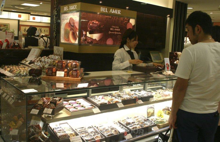 Le comptoir de Chocolat Bel Amer, au sous-sol du grand magasin Isetan. | 25 mars 2013