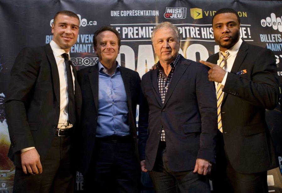 Lucian Bute, le président d'InterBox Jean Bédard, le président de GYM Yvon Michel, et Jean Pascal. | 26 mars 2013