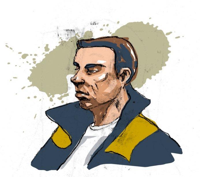 Luka Rocco Magnotta dans le box des accusés... (Illustration d'André Rivest)