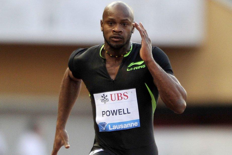 Asafa Powell s'est blessé aux ischio-jambiers,  apparemment... (Photo : Fabrice Coffrini, AFP)