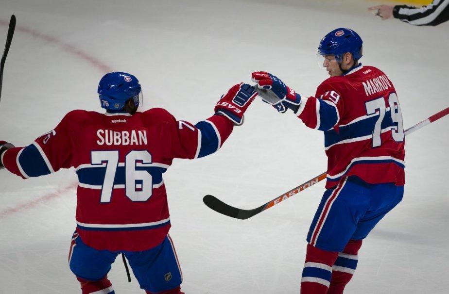 Andrei Markov célèbre son but avec P.K. Subban. (PHOTO ANDRE PICHETTE, LA PRESSE)