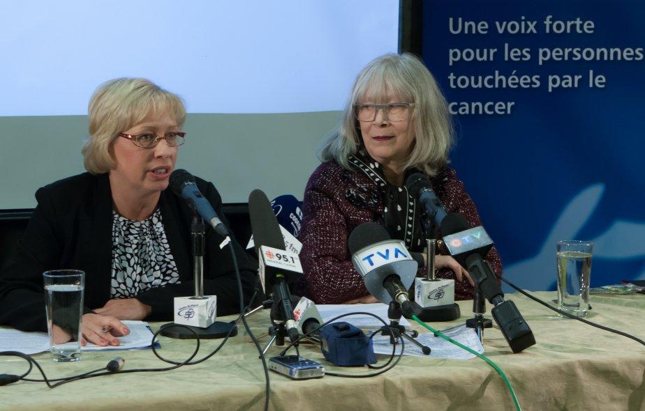 Gauche à droite: Nathalie Rodrigue, présidente de la... (Photo fournie par la Coalition Priorité Cancer au Québec)