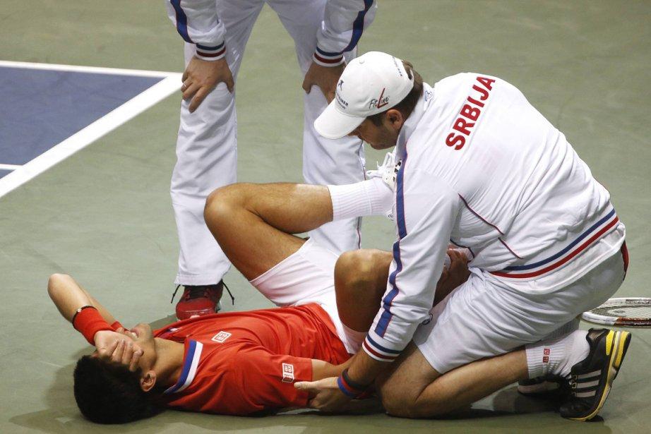Novak Djokovic s'est tordu la cheville lors des... (Photo Jim Urquhart, Reuters)