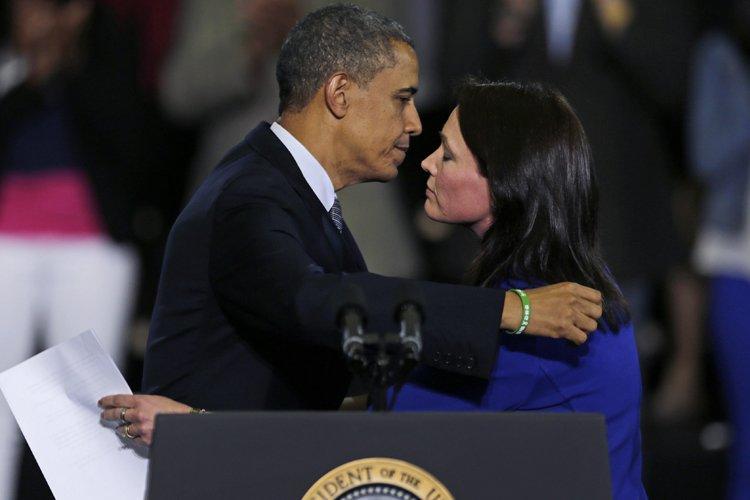 Barack Obama a accueilli sur scèneNicole Hockley, qui... (Photo: AP)