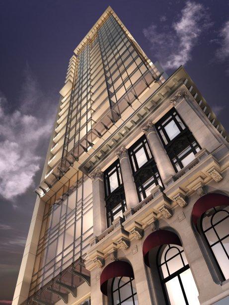 La nouvelle tour, ultramoderne, sera en retrait pour mettre en valeur les façades anciennes. | 10 avril 2013