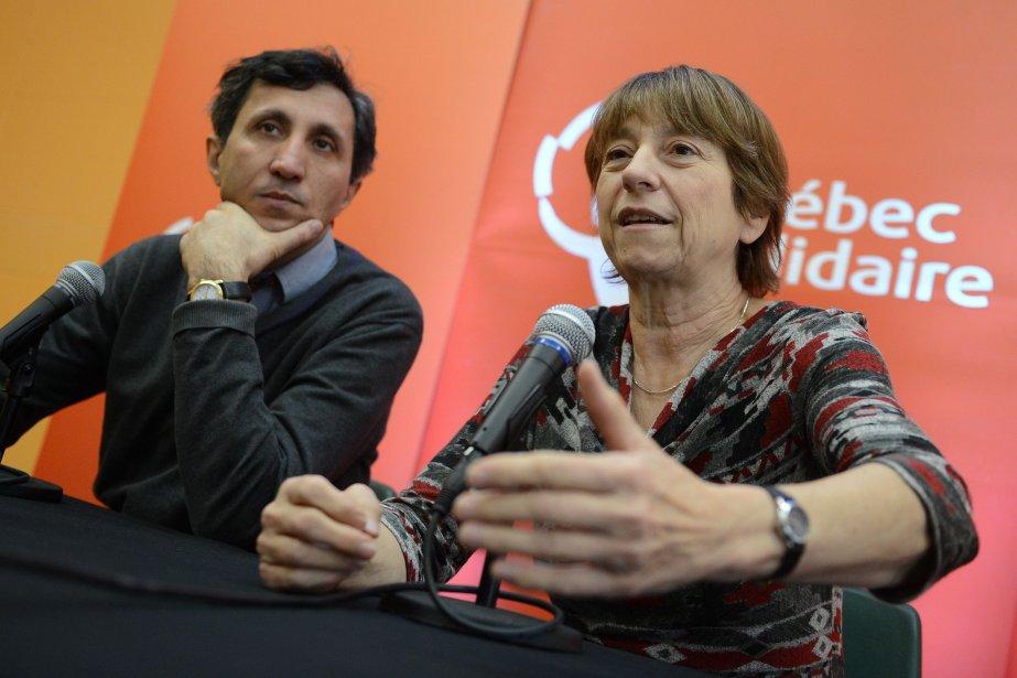 Françoise David,chef du parti Québec Solidaire en compagnie... (Photo Patrice Laroche, Focus1)