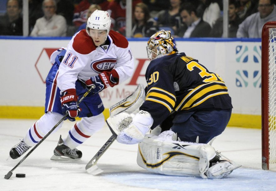 Brendan Gallagher a marqué un superbe but en contournant le gardien des Sabres. | 11 avril 2013