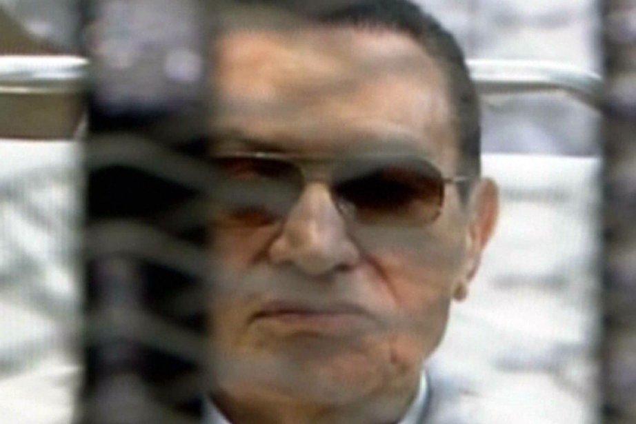 Cette capture d'écran montre l'ancien président égyptien Hosni... (Photo : AFP)