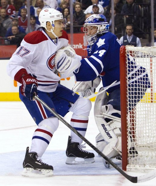 James Reimer et Rene Bourque (Photo Fred Thornhill, Reuters)