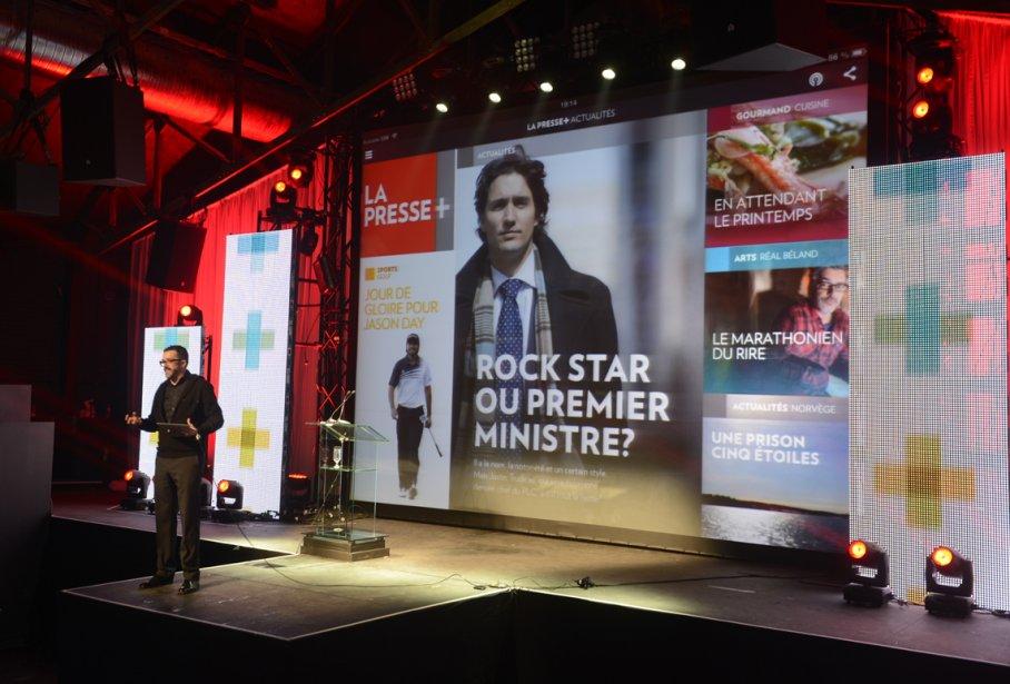 Benoit Giguère, Directeur principal, Design, Interactivité et Expérience Usager, présente La Presse + aux principaux acteurs du monde des communications de Montréal. | 17 avril 2013