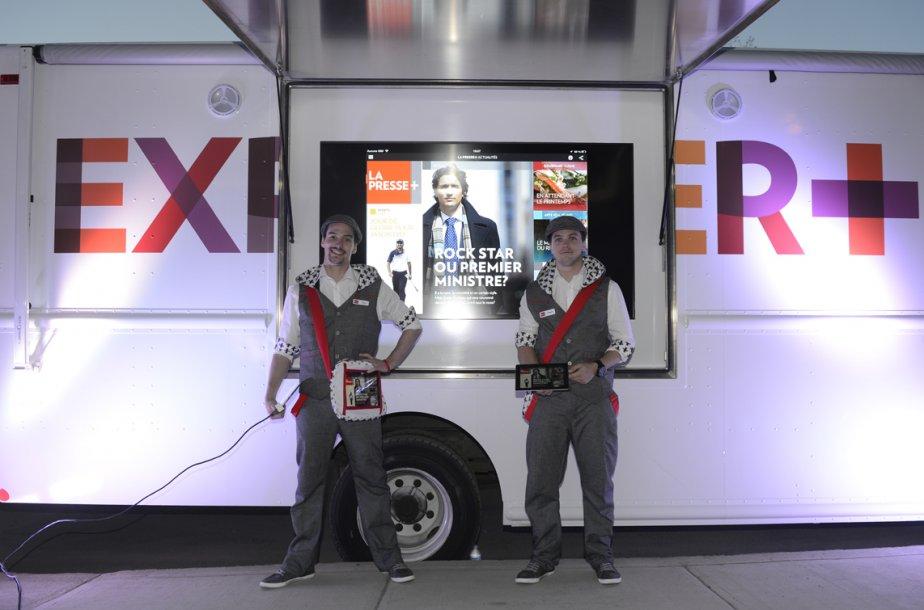 Le camion Grunman qui circulera dans les rues de la région montréalaise pour faire découvrir La Presse + dans les prochains mois. | 17 avril 2013