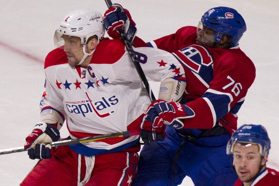 P.K. Subban (76) tente de neutraliser Alex Ovechkin (8). (PHOTO DAVID BOILY, LA PRESSE)