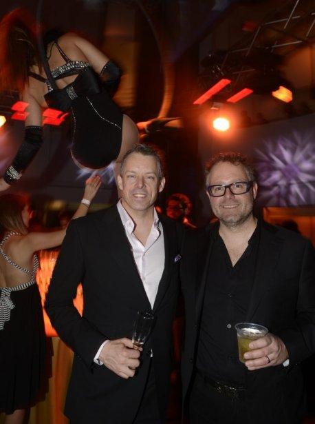 Le président du conseil d'administration du MAC, Alexandre Taillefer (à droite), a invité son collègue de «Dans l'oeil du dragon», François Lambert. Les deux hommes sont très heureux du succès de cette émission: «Nous avons de meilleures cotes d'écoute que l'an dernier», a dit François Lambert. | 22 avril 2013